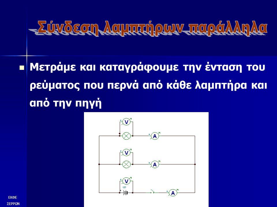 Μετράμε και καταγράφουμε την ένταση του ρεύματος που περνά από κάθε λαμπτήρα και από την πηγή ΕΚΦΕ ΣΕΡΡΩΝ