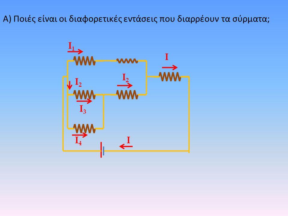Α) Ποιές είναι οι διαφορετικές εντάσεις που διαρρέουν τα σύρματα; Ι Ι1Ι1 Ι2Ι2 Ι3Ι3 Ι4Ι4 Ι Ι2Ι2