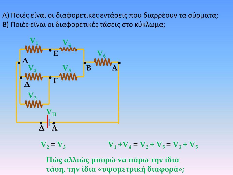 Β) Ποιές είναι οι διαφορετικές τάσεις στο κύκλωμα; ΒΑ Δ Α Γ Δ Ε Δ V1V1 V2V2 V3V3 V4V4 V5V5 V6V6 V 1 +V 4 = V 2 + V 5 = V 3 + V 5 V 2 = V 3 V 1 +V 4 =