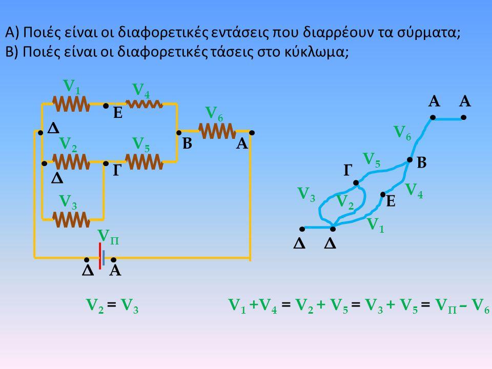 Α) Ποιές είναι οι διαφορετικές εντάσεις που διαρρέουν τα σύρματα; Β) Ποιές είναι οι διαφορετικές τάσεις στο κύκλωμα; ΒΑ Δ Α Γ Δ Ε Δ V1V1 V2V2 V3V3 V4V
