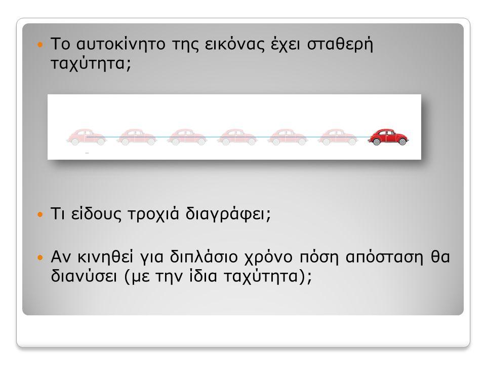 Το αυτοκίνητο της εικόνας έχει σταθερή ταχύτητα; Τι είδους τροχιά διαγράφει; Αν κινηθεί για διπλάσιο χρόνο πόση απόσταση θα διανύσει (με την ίδια ταχύτητα);