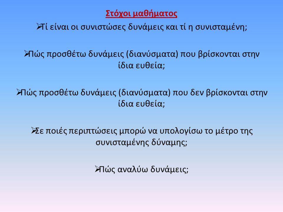 Στόχοι μαθήματος  Τί είναι οι συνιστώσες δυνάμεις και τί η συνισταμένη;  Πώς προσθέτω δυνάμεις (διανύσματα) που βρίσκονται στην ίδια ευθεία;  Πώς π