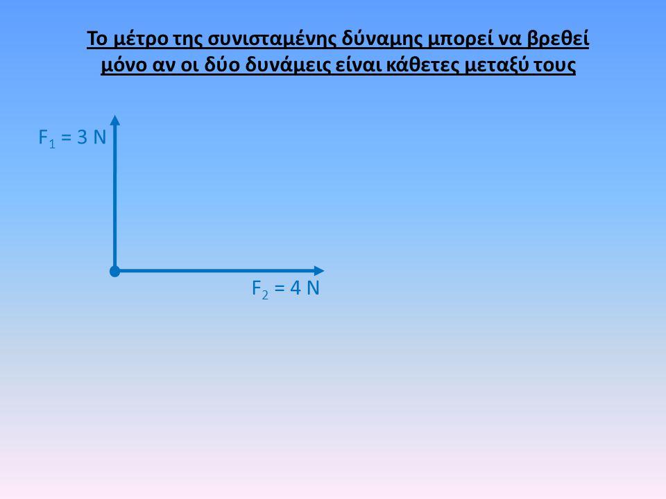 F 2 = 4 Ν F 1 = 3 Ν Το μέτρο της συνισταμένης δύναμης μπορεί να βρεθεί μόνο αν οι δύο δυνάμεις είναι κάθετες μεταξύ τους