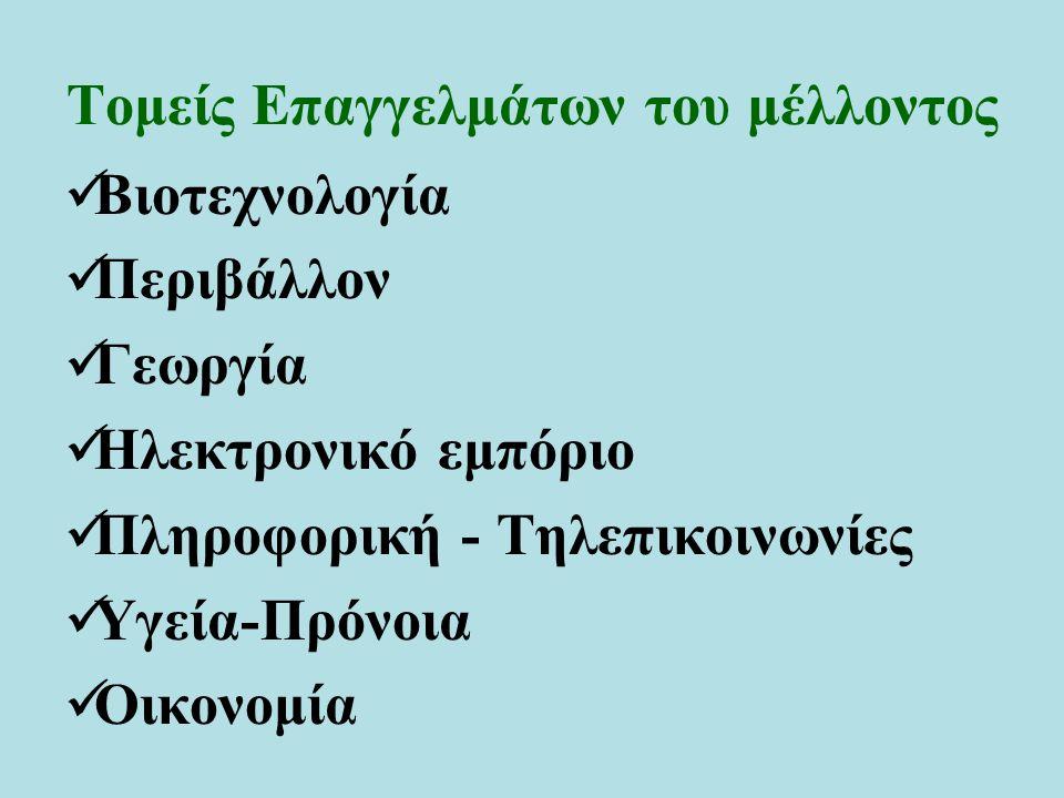 Τομείς Επαγγελμάτων του μέλλοντος Βιοτεχνολογία Περιβάλλον Γεωργία Ηλεκτρονικό εμπόριο Πληροφορική - Τηλεπικοινωνίες Υγεία-Πρόνοια Οικονομία