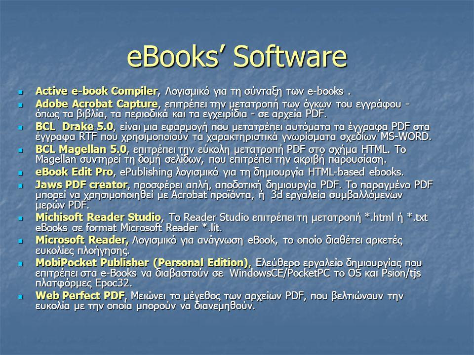 eBooks' Software Active e-book Compiler, Λογισμικό για τη σύνταξη των e-books.