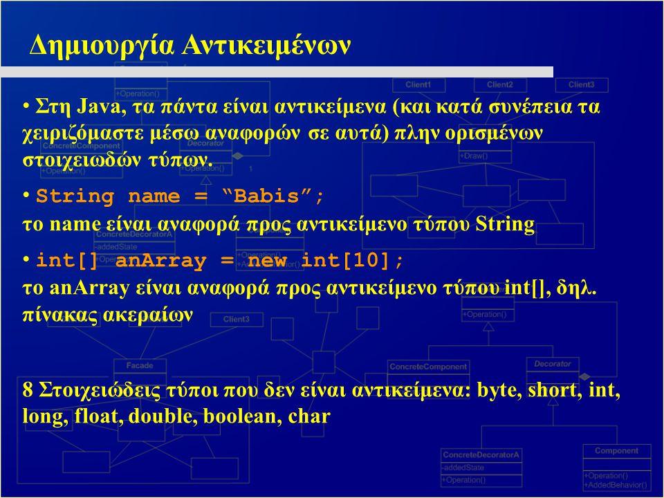Δημιουργία Αντικειμένων Στη Java, τα πάντα είναι αντικείμενα (και κατά συνέπεια τα χειριζόμαστε μέσω αναφορών σε αυτά) πλην ορισμένων στοιχειωδών τύπω