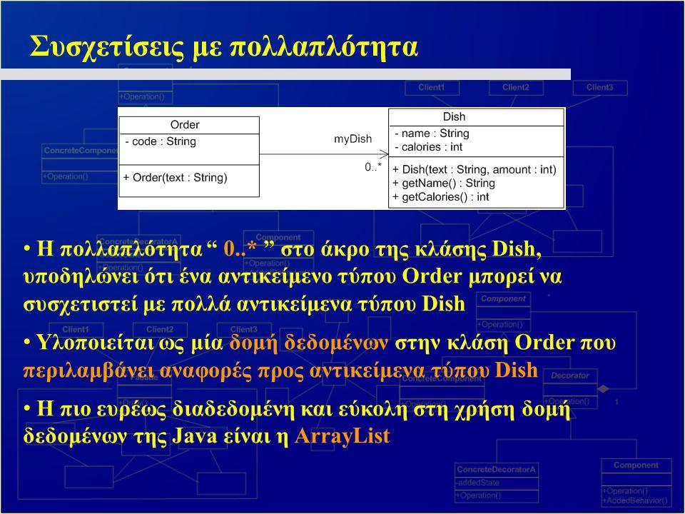 """Συσχετίσεις με πολλαπλότητα Η πολλαπλότητα """" 0..* """" στο άκρο της κλάσης Dish, υποδηλώνει ότι ένα αντικείμενο τύπου Order μπορεί να συσχετιστεί με πολλ"""