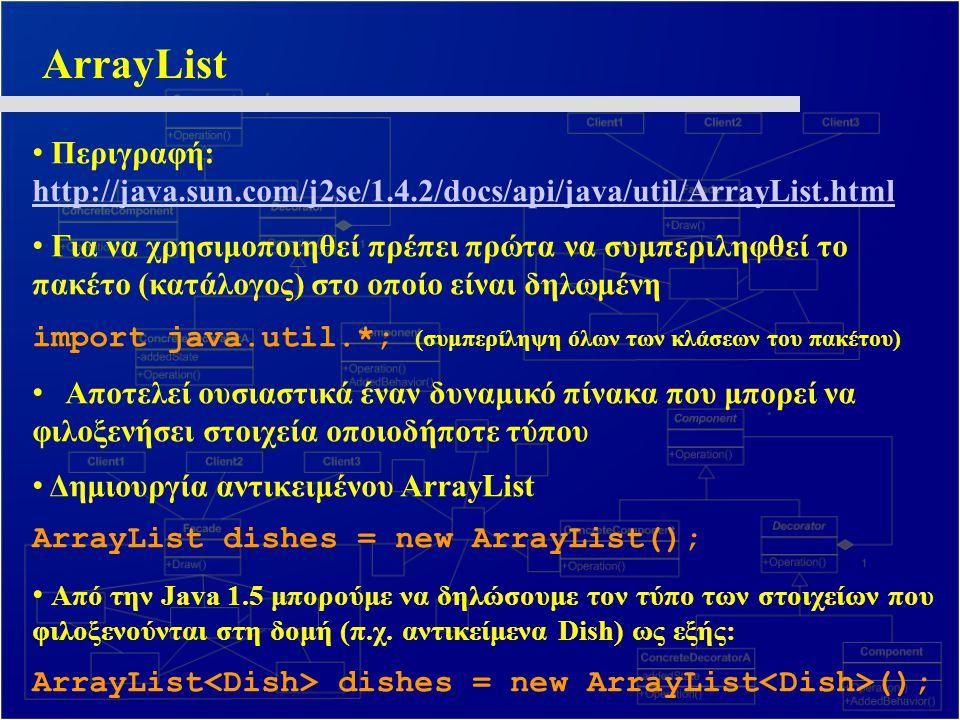 ArrayList Περιγραφή: http://java.sun.com/j2se/1.4.2/docs/api/java/util/ArrayList.html http://java.sun.com/j2se/1.4.2/docs/api/java/util/ArrayList.html