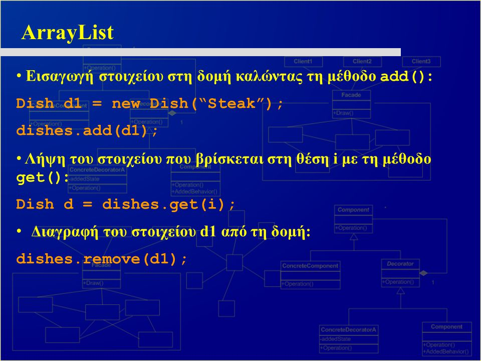 "ArrayList Εισαγωγή στοιχείου στη δομή καλώντας τη μέθοδο add() : Dish d1 = new Dish(""Steak""); dishes.add(d1); Λήψη του στοιχείου που βρίσκεται στη θέσ"