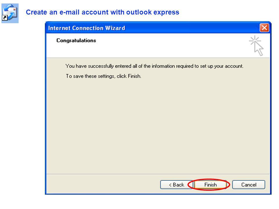 Πληκτολογούμε το όνομα που επιθυμούμε να εμφανίζεται στον παραλήπτη του μηνύματός μας (διαφέρει βέβαια από το θέμα του μηνύματος) Πληκτολογούμε το προσωπικό μας e-mail Βγάζω το εάν υπάρχει Create an e-mail account with outlook express