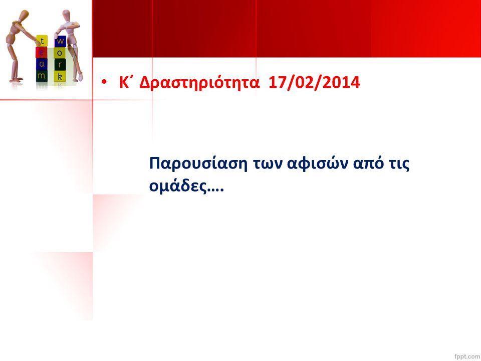 K΄ Δραστηριότητα 17/02/2014 Παρουσίαση των αφισών από τις ομάδες….