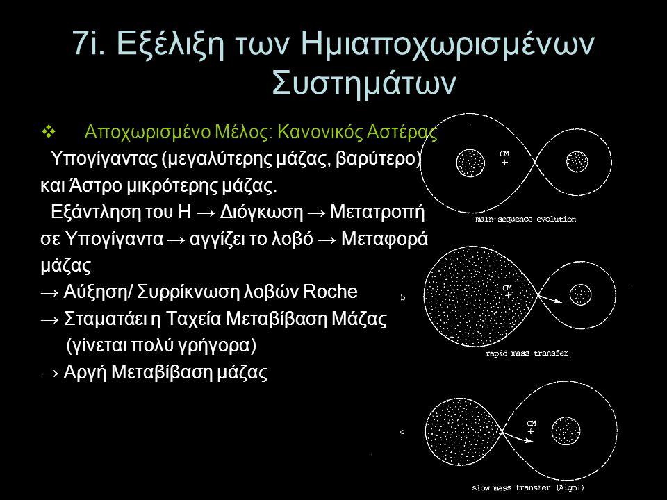 7i. Εξέλιξη των Ημιαποχωρισμένων Συστημάτων  Αποχωρισμένο Μέλος: Κανονικός Αστέρας Υπογίγαντας (μεγαλύτερης μάζας, βαρύτερο) και Άστρο μικρότερης μάζ