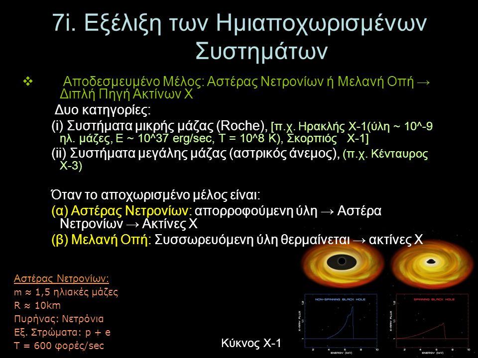 7i. Εξέλιξη των Ημιαποχωρισμένων Συστημάτων  Αποδεσμευμένο Μέλος: Αστέρας Νετρονίων ή Μελανή Οπή → Διπλή Πηγή Ακτίνων Χ Δυο κατηγορίες: (i) Συστήματα