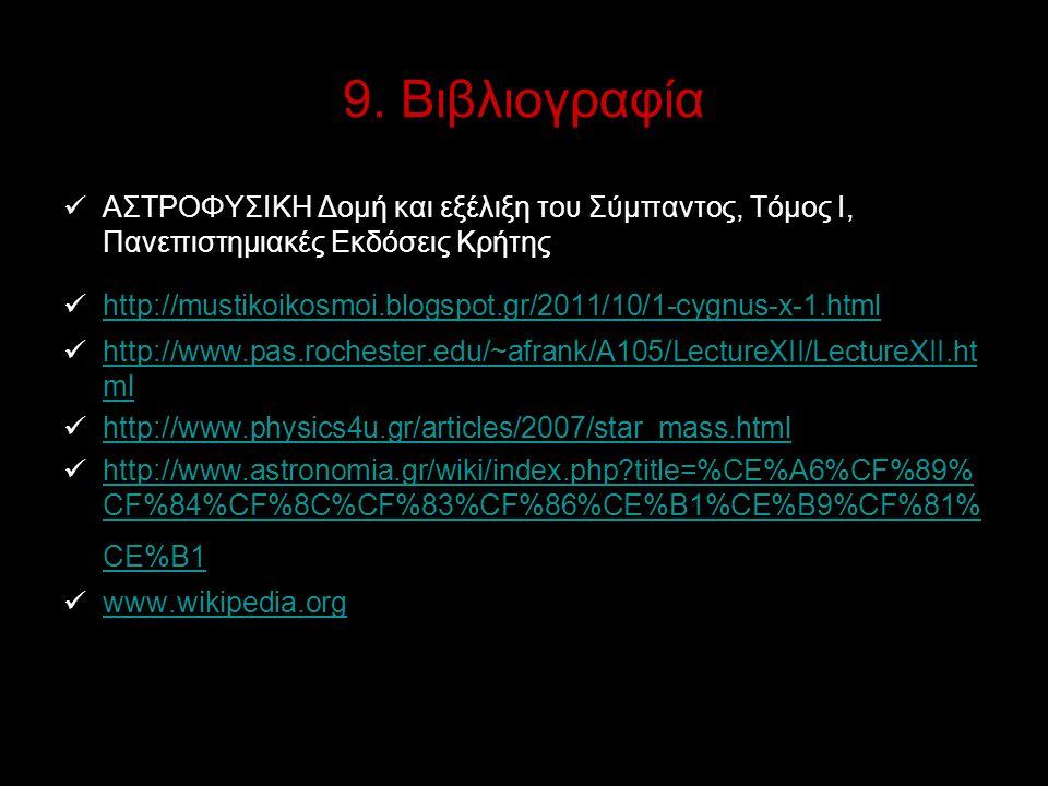 9. Βιβλιογραφία ΑΣΤΡΟΦΥΣΙΚΗ Δομή και εξέλιξη του Σύμπαντος, Τόμος Ι, Πανεπιστημιακές Εκδόσεις Κρήτης http://mustikoikosmoi.blogspot.gr/2011/10/1-cygnu