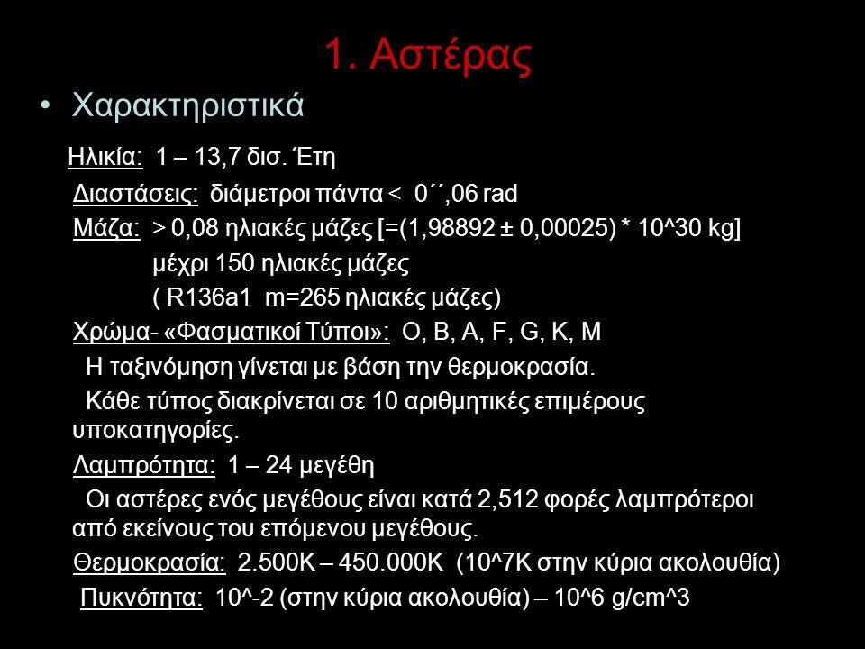 1. Αστέρας Χαρακτηριστικά Ηλικία: 1 – 13,7 δισ. Έτη Διαστάσεις: διάμετροι πάντα < 0΄΄,06 rad Μάζα: > 0,08 ηλιακές μάζες [=(1,98892 ± 0,00025) * 10^30