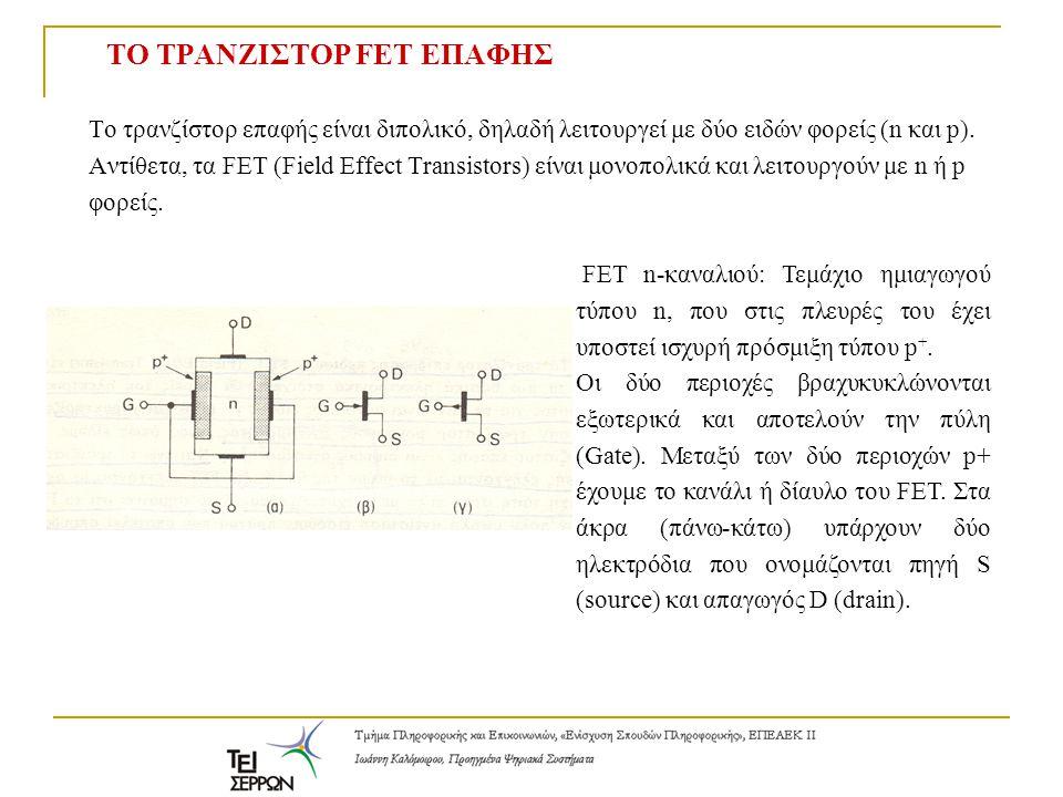 ΤΟ ΤΡΑΝΖΙΣΤΟΡ FET ΕΠΑΦΗΣ To τρανζίστορ επαφής είναι διπολικό, δηλαδή λειτουργεί με δύο ειδών φορείς (n και p). Αντίθετα, τα FET (Field Effect Transist