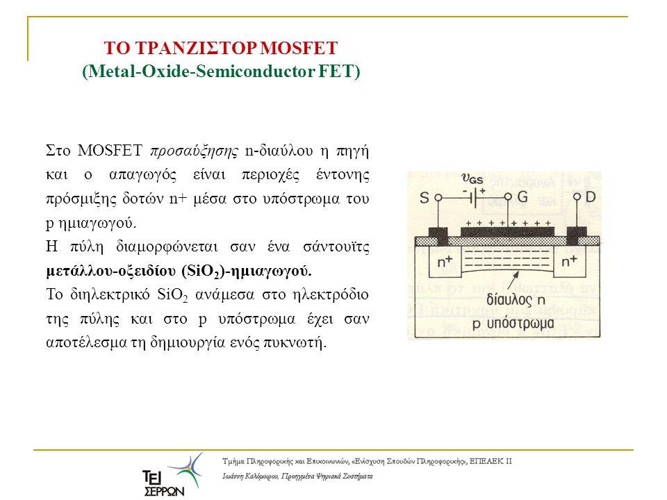 Στο MOSFET προσαύξησης n-διαύλου η πηγή και ο απαγωγός είναι περιοχές έντονης πρόσμιξης δοτών n+ μέσα στο υπόστρωμα του p ημιαγωγού. Η πύλη διαμορφώνε