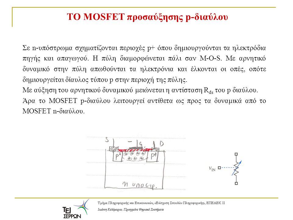 Bασική λειτουργία n-MOS και p-MOS V gs >0, R ds =0 V gs <0, R ds =0 To MOSFET p-διαύλου λειτουργεί αντίθετα ως προς τα δυναμικά από το τρανζίστορ MOSFET n-διαύλου.
