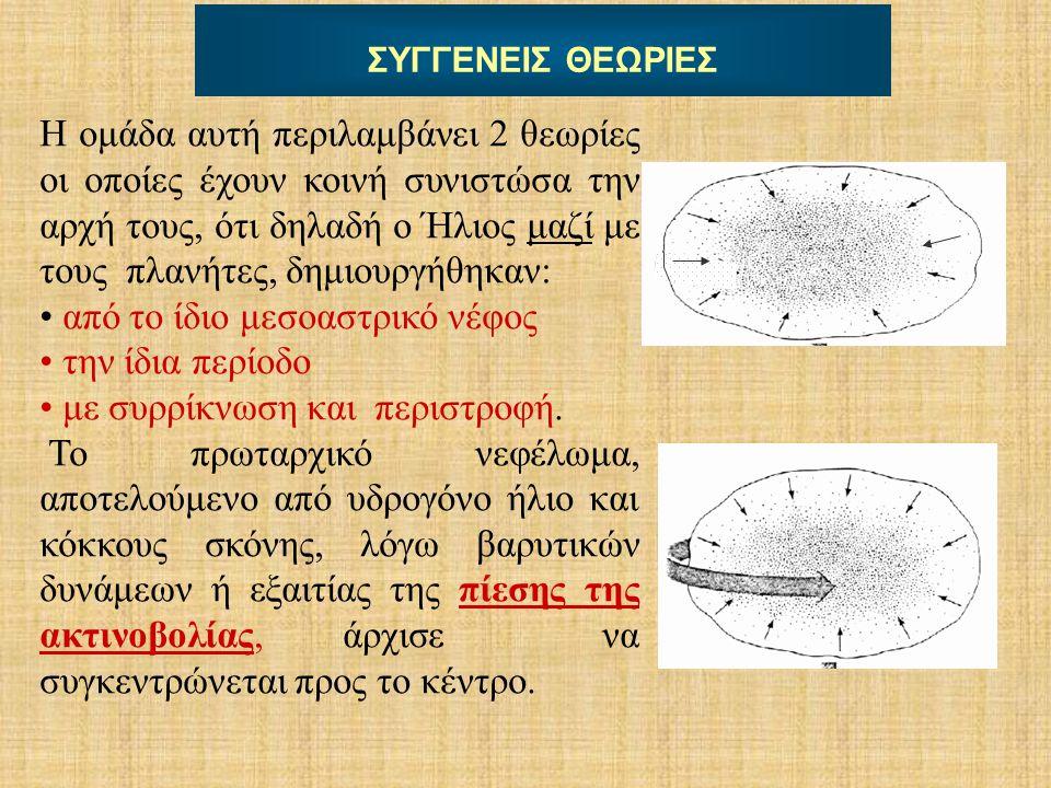 ΣΥΓΓΕΝΕΙΣ ΘΕΩΡΙΕΣ Η ομάδα αυτή περιλαμβάνει 2 θεωρίες οι οποίες έχουν κοινή συνιστώσα την αρχή τους, ότι δηλαδή ο Ήλιος μαζί με τους πλανήτες, δημιουρ