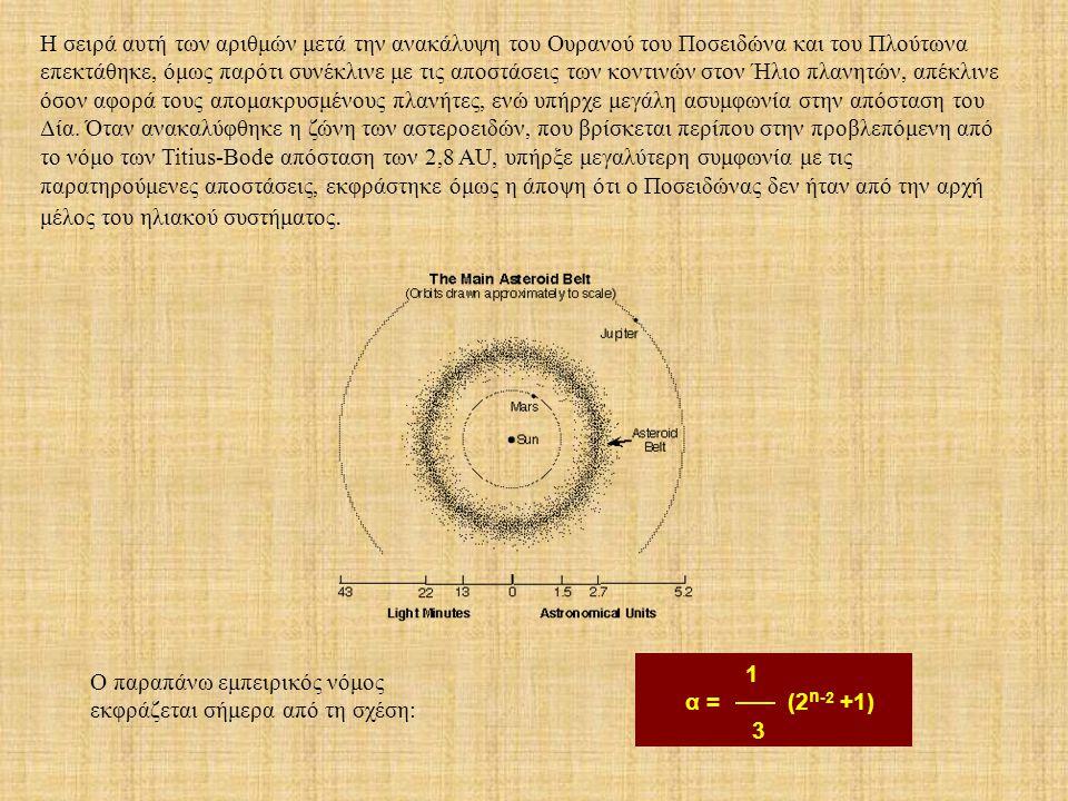 1 α = (2 n -2 +1) 3 H σειρά αυτή των αριθμών μετά την ανακάλυψη του Ουρανού του Ποσειδώνα και του Πλούτωνα επεκτάθηκε, όμως παρότι συνέκλινε με τις απ