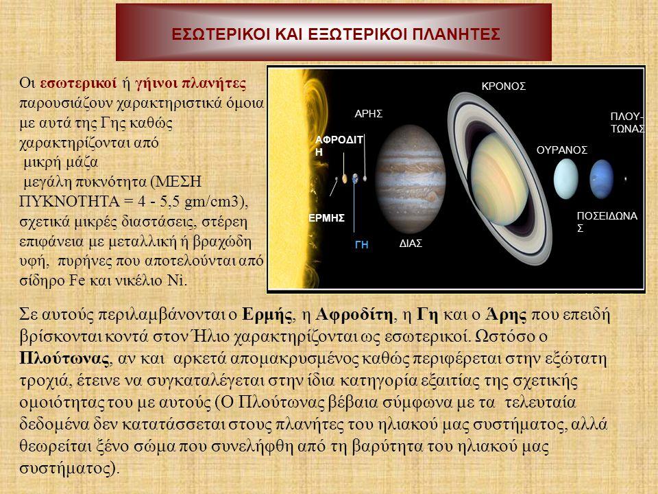ΕΣΩΤΕΡΙΚΟΙ ΚΑΙ ΕΞΩΤΕΡΙΚΟΙ ΠΛΑΝΗΤΕΣ ΔΙΑΣ ΚΡΟΝΟΣ ΟΥΡΑΝΟΣ ΠΟΣΕΙΔΩΝΑ Σ ΓΗ ΑΡΗΣ ΠΛΟΥ- ΤΩΝΑΣ ΑΦΡΟΔΙΤ Η ΕΡΜΗΣ Οι εσωτερικοί ή γήινοι πλανήτες παρουσιάζουν χα