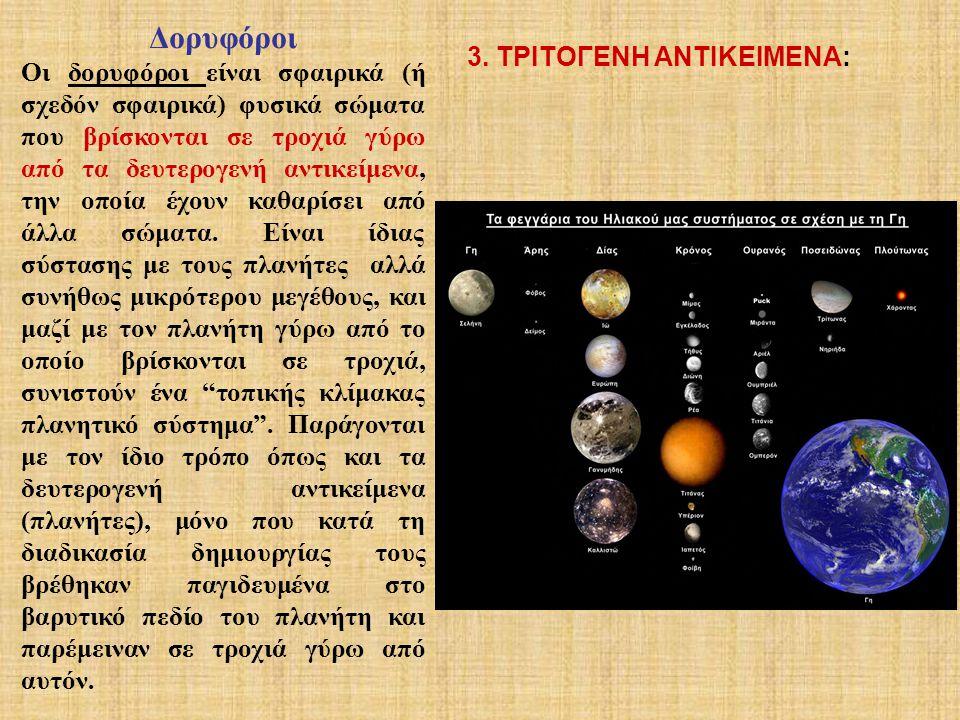 Είναι σώματα που βρίσκονται σε τροχιά γύρω από τα πρωτογενή αντικείμενα και πρόκειται είτε για αντικείμενα τα οποία μέσα από τη διαδικασία της συσσώρευσης και της συσσωμάτωσης δεν κατάφεραν να σχηματίσουν μεγαλύτερα σώματα (πλανήτες ή δορυφόρους), είτε για υπολείμματα συγκρούσεων.