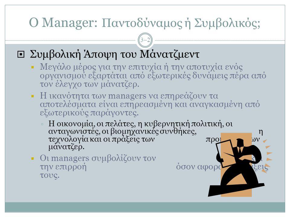 Ο Manager: Παντοδύναμος ή Συμβολικός; 3–2  Συμβολική Άποψη του Μάνατζμεντ  Μεγάλο μέρος για την επιτυχία ή την αποτυχία ενός οργανισμού εξαρτάται απ
