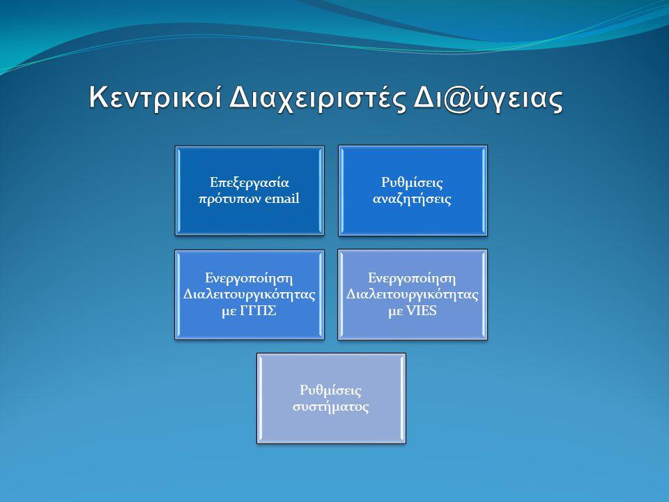 Επεξεργασία πρότυπων email Ρυθμίσεις αναζητήσεις Ενεργοποίηση Διαλειτουργικότητας με ΓΓΠΣ Ενεργοποίηση Διαλειτουργικότητας με VIES Ρυθμίσεις συστήματος