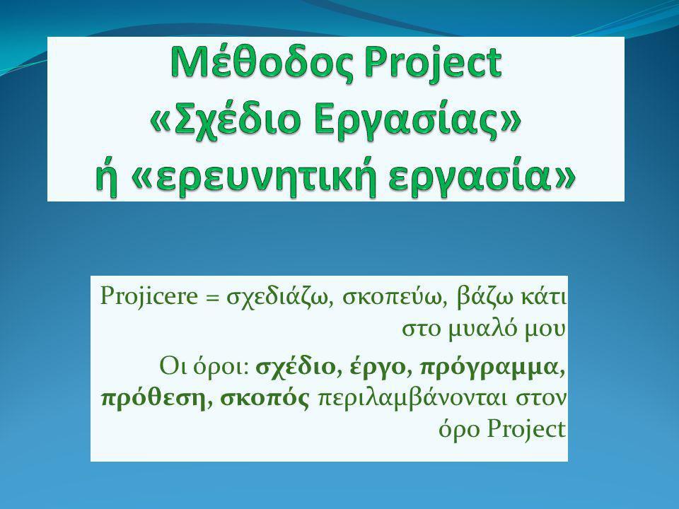 Projicere = σχεδιάζω, σκοπεύω, βάζω κάτι στο μυαλό μου Οι όροι: σχέδιο, έργο, πρόγραμμα, πρόθεση, σκοπός περιλαμβάνονται στον όρο Project