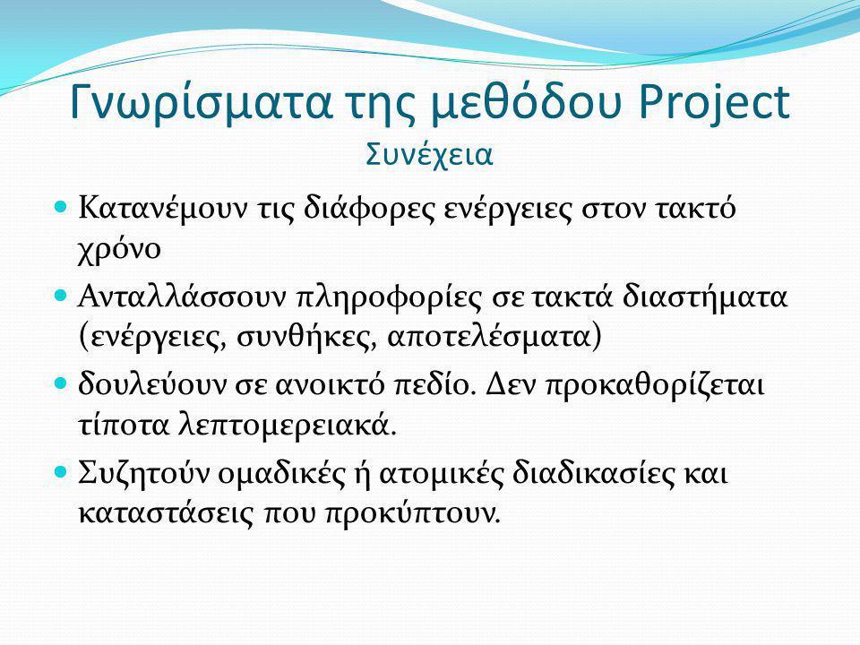 Γνωρίσματα της μεθόδου Project Συνέχεια Κατανέμουν τις διάφορες ενέργειες στον τακτό χρόνο Ανταλλάσσουν πληροφορίες σε τακτά διαστήματα (ενέργειες, συ