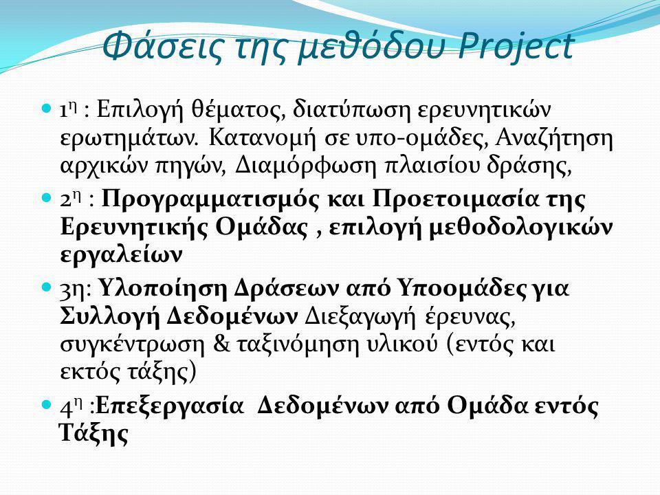 Φάσεις της μεθόδου Project 1 η : Επιλογή θέματος, διατύπωση ερευνητικών ερωτημάτων. Κατανομή σε υπο-ομάδες, Αναζήτηση αρχικών πηγών, Διαμόρφωση πλαισί