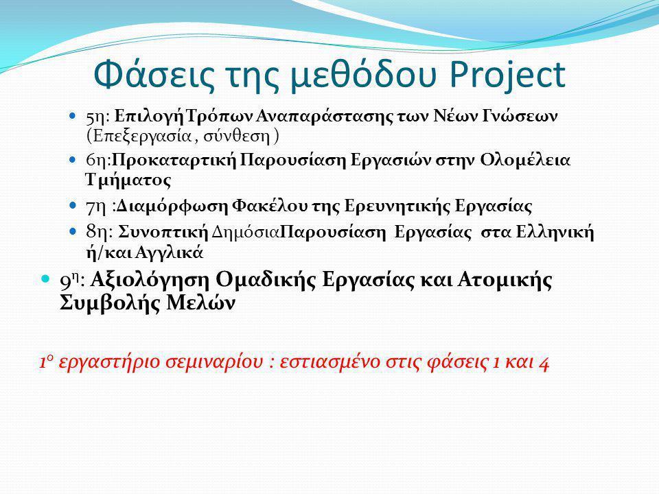 Φάσεις της μεθόδου Project 5η: Επιλογή Τρόπων Αναπαράστασης των Νέων Γνώσεων (Επεξεργασία, σύνθεση ) 6η:Προκαταρτική Παρουσίαση Εργασιών στην Ολομέλει