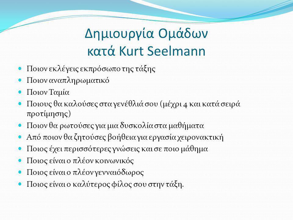 Δημιουργία Ομάδων κατά Kurt Seelmann Ποιον εκλέγεις εκπρόσωπο της τάξης Ποιον αναπληρωματικό Ποιον Ταμία Ποιους θα καλούσες στα γενέθλιά σου (μέχρι 4