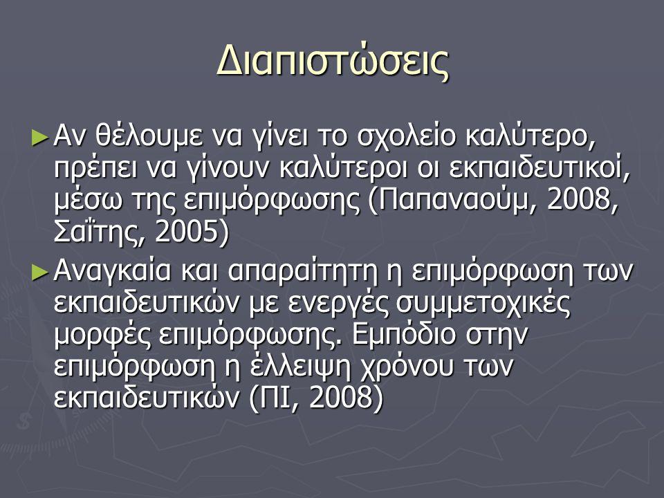 Διαπιστώσεις ► Αν θέλουμε να γίνει το σχολείο καλύτερο, πρέπει να γίνουν καλύτεροι οι εκπαιδευτικοί, μέσω της επιμόρφωσης (Παπαναούμ, 2008, Σαΐτης, 2005) ► Αναγκαία και απαραίτητη η επιμόρφωση των εκπαιδευτικών με ενεργές συμμετοχικές μορφές επιμόρφωσης.