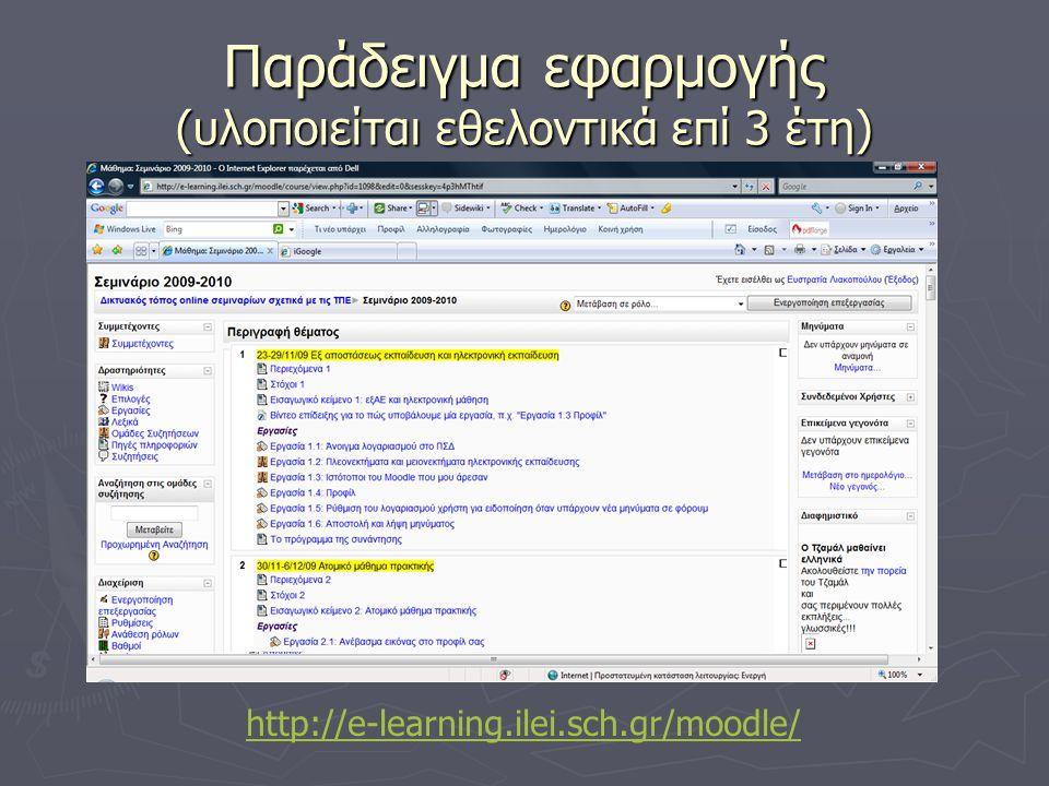 Παράδειγμα εφαρμογής (υλοποιείται εθελοντικά επί 3 έτη) http://e-learning.ilei.sch.gr/moodle/