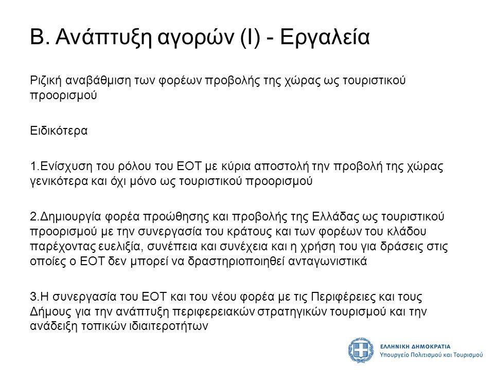 Β. Ανάπτυξη αγορών (Ι) - Εργαλεία Ριζική αναβάθμιση των φορέων προβολής της χώρας ως τουριστικού προορισμού Ειδικότερα 1.Ενίσχυση του ρόλου του ΕΟΤ με