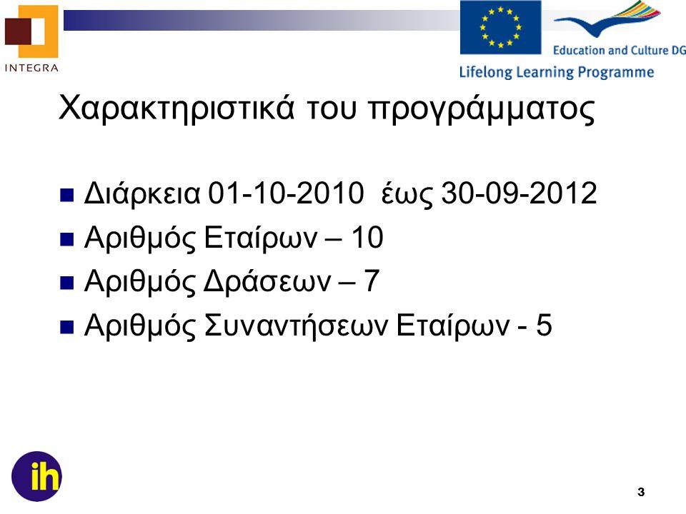 3 Χαρακτηριστικά του προγράμματος Διάρκεια 01-10-2010 έως 30-09-2012 Αριθμός Εταίρων – 10 Αριθμός Δράσεων – 7 Αριθμός Συναντήσεων Εταίρων - 5