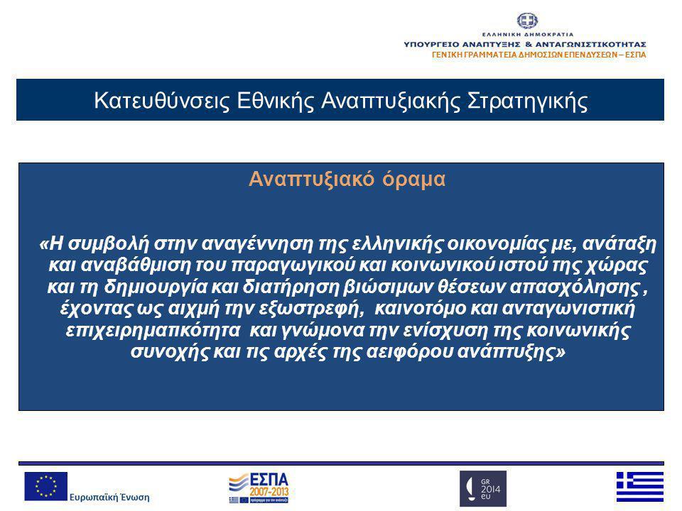 ΓΕΝΙΚΗ ΓΡΑΜΜΑΤΕΙΑ ΔΗΜΟΣΙΩΝ ΕΠΕΝΔΥΣΕΩΝ – ΕΣΠΑ Αναπτυξιακό όραμα «Η συμβολή στην αναγέννηση της ελληνικής οικονομίας με, ανάταξη και αναβάθμιση του παρα