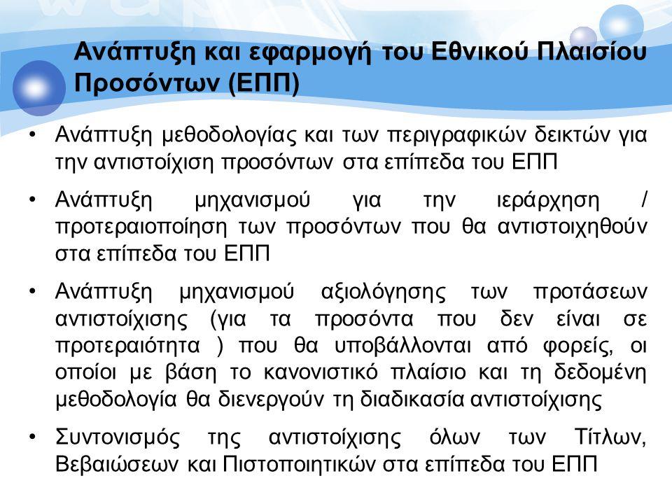 Ανάπτυξη και εφαρμογή του Εθνικού Πλαισίου Προσόντων (ΕΠΠ) Πιλοτική αντιστοίχιση δύο κλάδων της οικονομίας (Τουρισμός, Πράσινα Επαγγέλματα στα 8 επίπεδα του ΕΠΠ) και αξιολόγηση των αποτελεσμάτων της με κύριο γνώμονα το βελτιωτικό ανασχεδιασμό της μεθοδολογίας αντιστοίχισης Ανάπτυξη μηχανισμού συντήρησης του Εθνικού Πλαισίου Προσόντων αφενός για την αντιστοίχιση των μελλοντικών προσόντων (τίτλων, βεβαιώσεων, πιστοποιητικών κλπ) στα επίπεδα του ΕΠΠ και αφετέρου για τη διαρκή βελτίωση του ΕΠΠ σύμφωνα με τα πορίσματα της ανάπτυξης και εφαρμογής του Λειτουργία του Εθνικού Σημείου Συντονισμού του Ευρωπαϊκού Πλαισίου Προσόντων για την αντιστοίχιση των επίπεδων του Εθνικού Πλαισίου Προσόντων στα επίπεδα του EQF