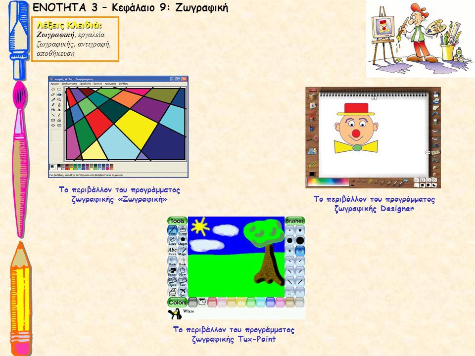 ΕΝΟΤΗΤΑ 3 – Κεφάλαιο 9: Ζωγραφική Λέξεις Κλειδιά: Ζωγραφική, εργαλεία ζωγραφικής, αντιγραφή, αποθήκευση Το περιβάλλον του προγράμματος ζωγραφικής Desi