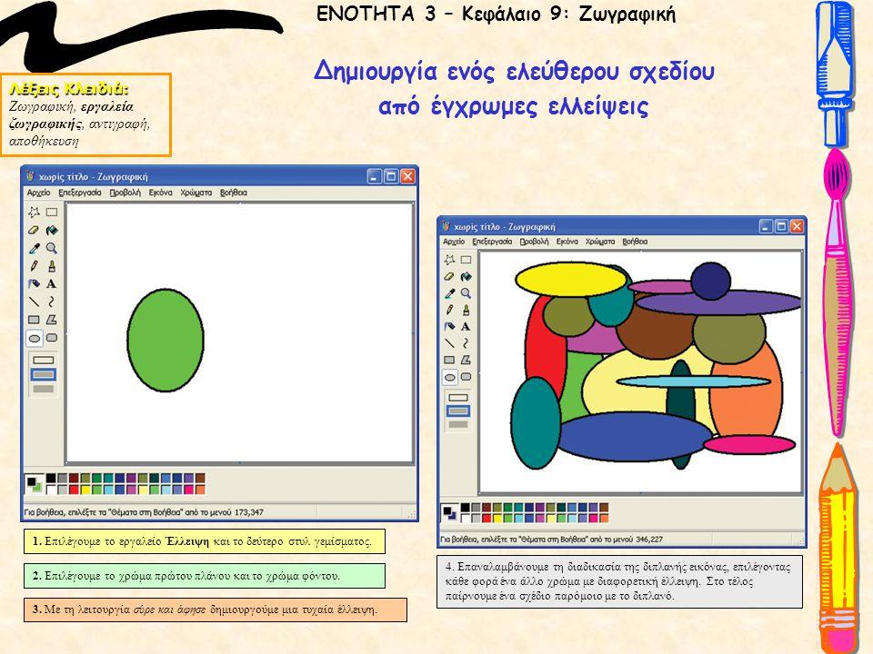 Λέξεις Κλειδιά: Ζωγραφική, εργαλεία ζωγραφικής, αντιγραφή, αποθήκευση ΕΝΟΤΗΤΑ 3 – Κεφάλαιο 9: Ζωγραφική Δημιουργία ενός ελεύθερου σχεδίου από έγχρωμες