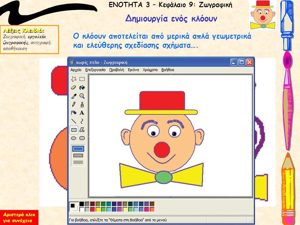 ΕΝΟΤΗΤΑ 3 – Κεφάλαιο 9: Ζωγραφική Λέξεις Κλειδιά: Ζωγραφική, εργαλεία ζωγραφικής, αντιγραφή, αποθήκευση Δημιουργία ενός κλόουν Ο κλόουν αποτελείται απ