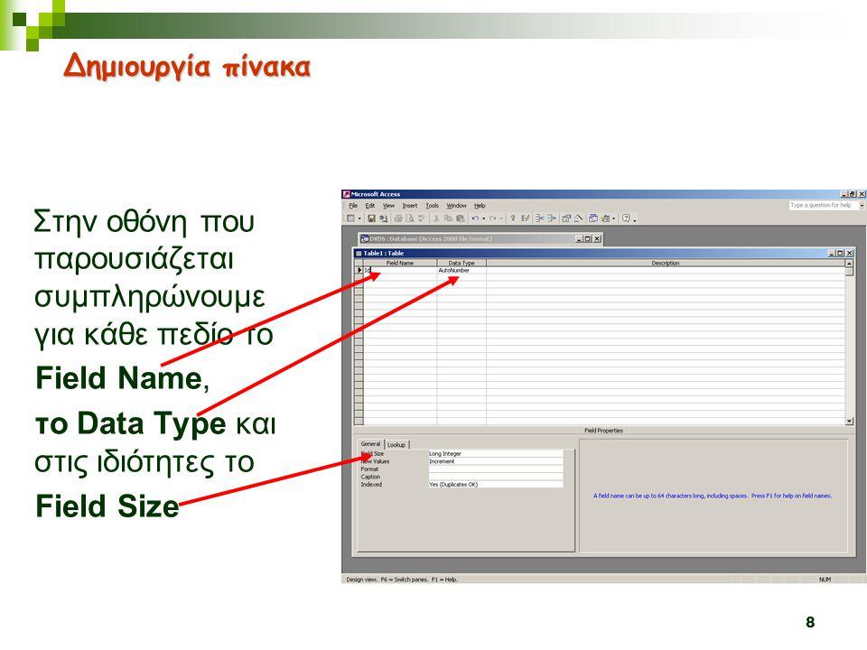 8 Στην οθόνη που παρουσιάζεται συμπληρώνουμε για κάθε πεδίο το Field Name, το Data Type και στις ιδιότητες το Field Size Δημιουργία πίνακα