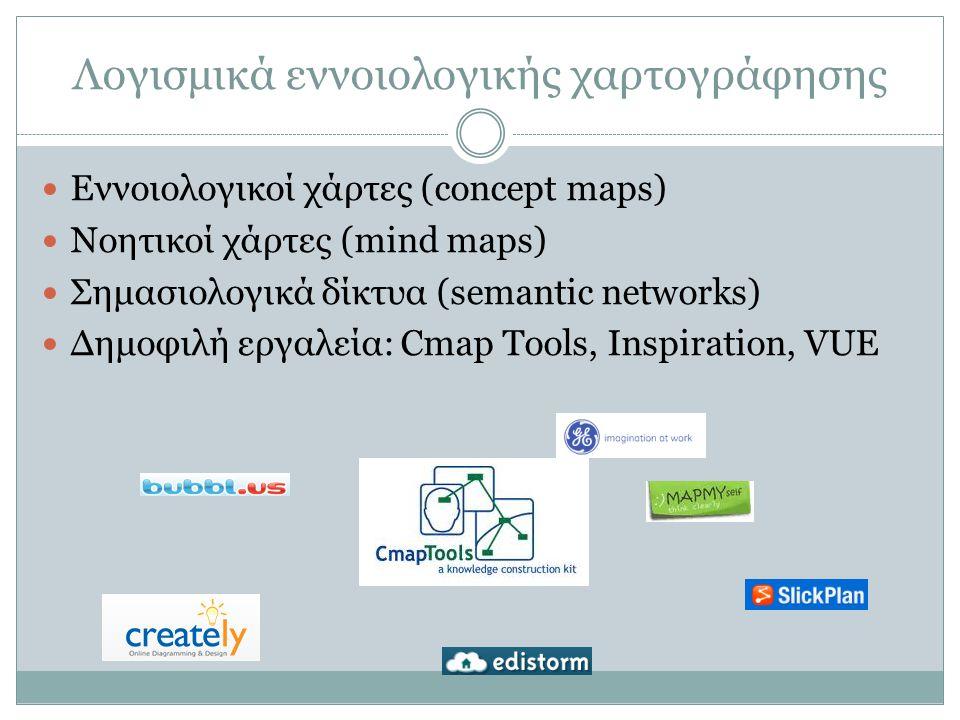 Λογισμικά εννοιολογικής χαρτογράφησης Εννοιολογικοί χάρτες (concept maps) Νοητικοί χάρτες (mind maps) Σημασιολογικά δίκτυα (semantic networks) Δημοφιλή εργαλεία: Cmap Tools, Inspiration, VUE