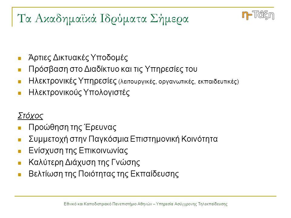 Εθνικό και Καποδιστριακό Πανεπιστήμιο Αθηνών – Υπηρεσία Ασύγχρονης Τηλεκπαίδευσης Δομή Ψηφιακού Μαθήματος (1/3) Ατζέντα παρουσιάζονται χρονικά τα γεγονότα σταθμοί του μαθήματος (διαλέξεις, συναντήσεις, αξιολογήσεις κλπ) Έγγραφα περιέχουν το εκπαιδευτικό υλικό του μαθήματος (κείμενα, παρουσιάσεις) Ανακοινώσεις αφορούν το μάθημα και ενημερώνουν τους εκπαιδευόμενους Περιοχή Συζητήσεων ανταλλαγή απόψεων και ιδεών οργανωμένη σε θεματικές ενότητες σχετικές με το μάθημα