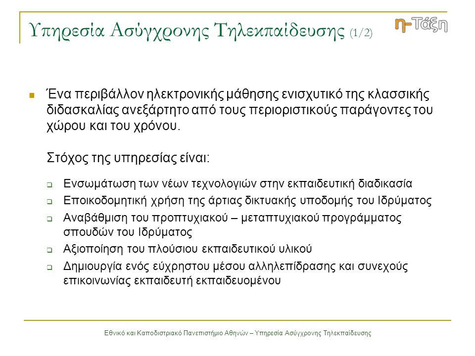 Εθνικό και Καποδιστριακό Πανεπιστήμιο Αθηνών – Υπηρεσία Ασύγχρονης Τηλεκπαίδευσης Δομή Ψηφιακού Μαθήματος (3/3) Ασκήσεις Αυτοαξιολόγησης τις οποίες δημιουργεί ο καθηγητής του μαθήματος Περιγραφή Μαθήματος πληροφορίες που αφορούν τους στόχους του μαθήματος, τη δομή του, τους καθηγητές που το υποστηρίζουν κλπ Βίντεο αποθηκεύονται οι ψηφιοποιημένες διαλέξεις του μαθήματος Ιστοσελίδα Μαθήματος αποτελεί έναν εξωτερικό σύνδεσμο στην ιστοσελίδα του μαθήματος η οποία ενσωματώνεται στη δομή του ψηφιακού μαθήματος