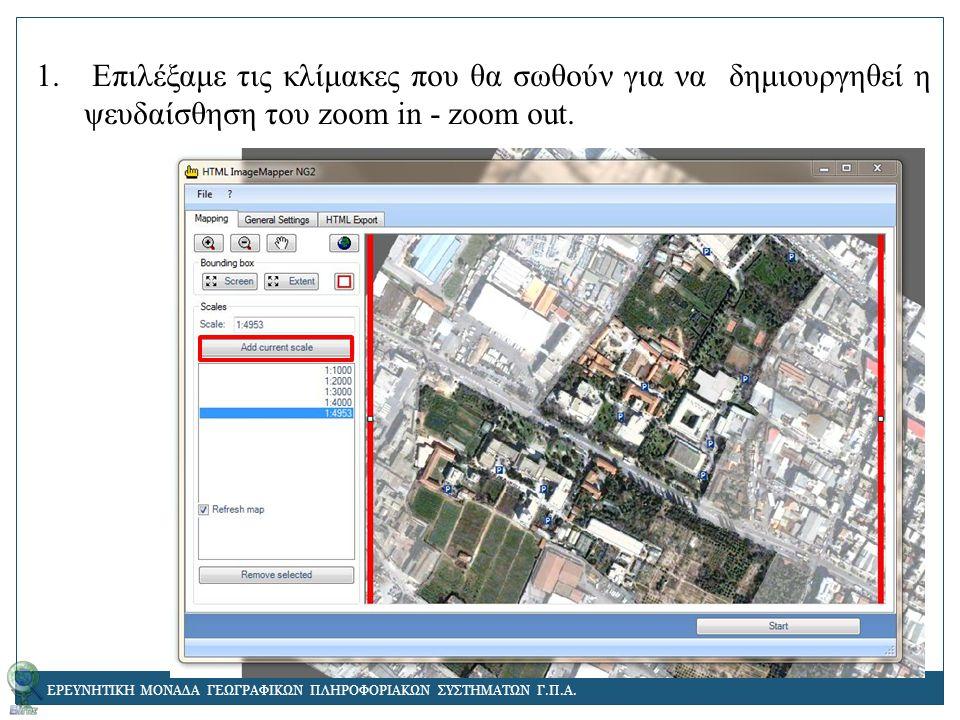 1. Επιλέξαμε τις κλίμακες που θα σωθούν για να δημιουργηθεί η ψευδαίσθηση του zoom in - zoom out.