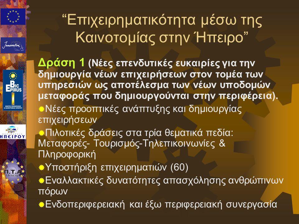 Δράση 1 (Νέες επενδυτικές ευκαιρίες για την δημιουργία νέων επιχειρήσεων στον τομέα των υπηρεσιών ως αποτέλεσμα των νέων υποδομών μεταφοράς που δημιου