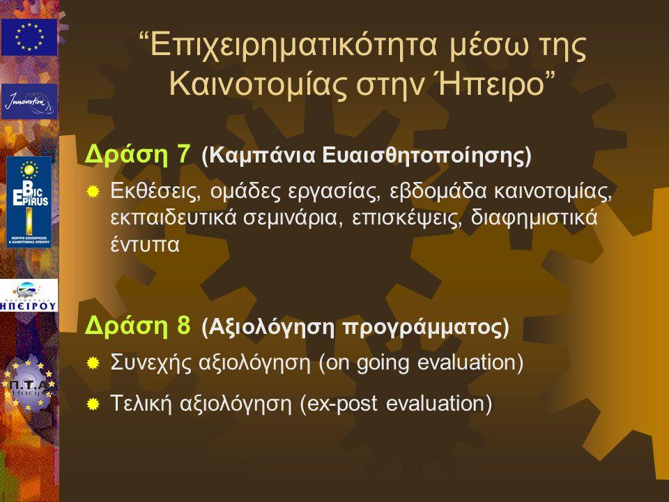 Δράση 7 (Καμπάνια Ευαισθητοποίησης)  Εκθέσεις, ομάδες εργασίας, εβδομάδα καινοτομίας, εκπαιδευτικά σεμινάρια, επισκέψεις, διαφημιστικά έντυπα Δράση 8