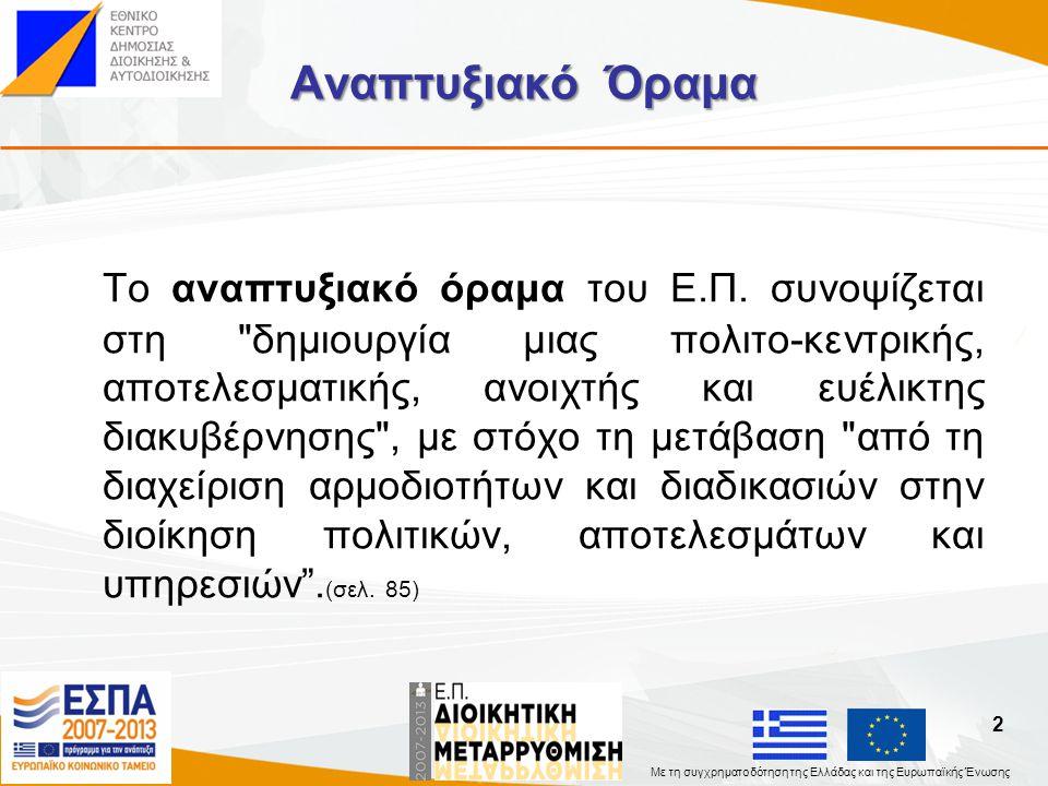 Με τη συγχρηματοδότηση της Ελλάδας και της Ευρωπαϊκής Ένωσης Στρατηγικός Στόχος Στρατηγικός στόχος του Ε.Π.
